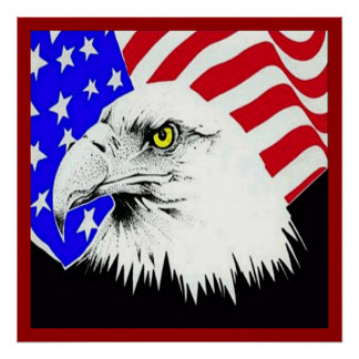 Eagle calvo y poster de la bandera americana