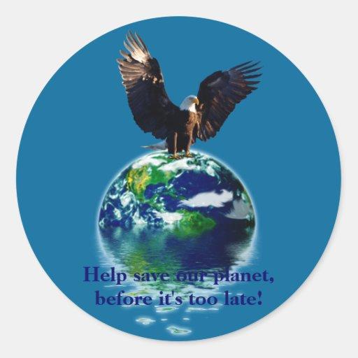 Eagle calvo y serie del Día de la Tierra del Pegatina Redonda