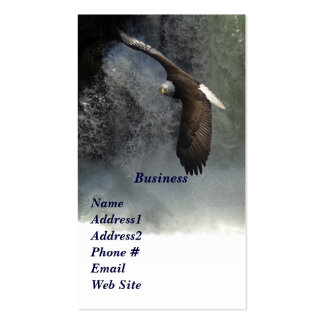 Eagle calvo y tarjetas de visita de las cascadas