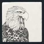 "Eagle Coaster<br><div class=""desc"">Eagle proudly waits on this classy stone coaster. Customize with with name,  course number or other text.</div>"