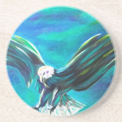 Eagle coming in to Land on blue background Drink Coasters
