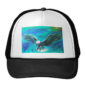 Eagle coming in to Land on blue background Trucker Hat