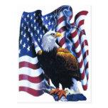 Eagle con la bandera americana tarjetas postales