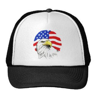 Eagle con la bandera gorros