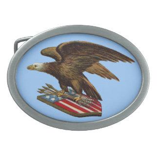 Eagle con las flechas en el escudo hebilla cinturon oval