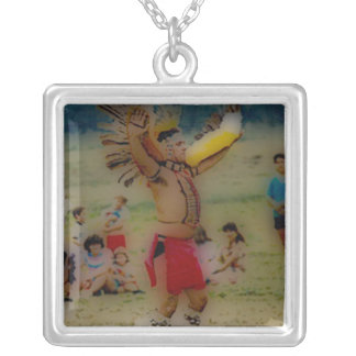 'Eagle Dancing Warrior' Silver Plated Necklace