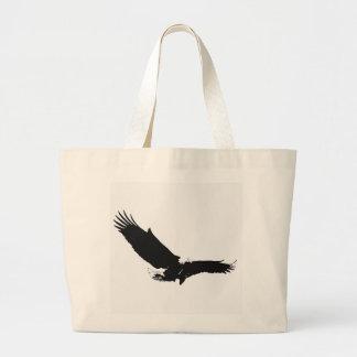 Eagle de aterrizaje negro y blanco bolsa de tela grande