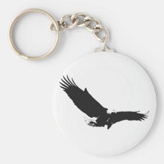 Eagle de aterrizaje negro y blanco llavero redondo tipo pin