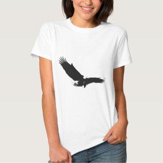 Eagle de aterrizaje negro y blanco playera