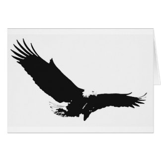 Eagle de aterrizaje negro y blanco tarjeta de felicitación
