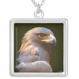 Eagle de oro collar plateado