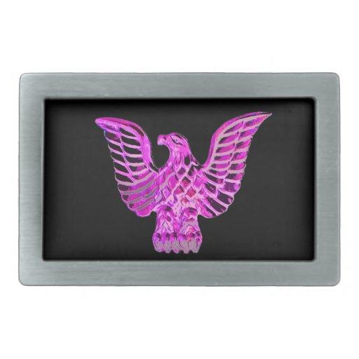 Eagle de oro en rosado, lila, fondo negro hebilla de cinturon