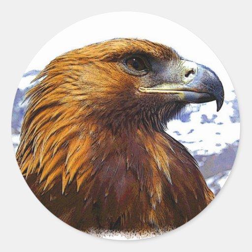 Eagle de oro pegatina redonda
