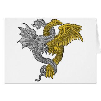 Eagle de oro y dragón de plata en Conjunctivo Tarjeta De Felicitación
