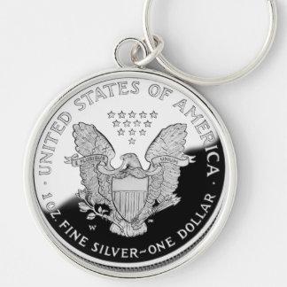 Eagle de plata americano 1 dólar llavero redondo plateado