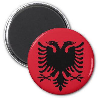 Eagle del negro de la bandera de Albania en un Imán Redondo 5 Cm
