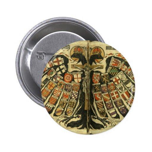 Eagle doble austríaco pin redondo de 2 pulgadas