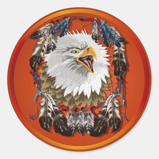 Eagle Dreamcatcher-Stickers Classic Round Sticker