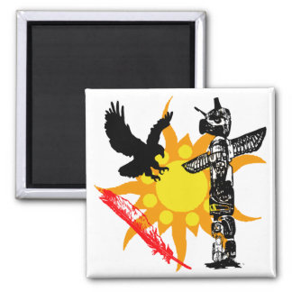 Eagle, Eagle Totem, & Feather design 2 Inch Square Magnet