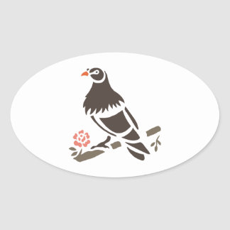 Eagle Eagles Bird Birds Black Art Cartoon Animal Oval Sticker