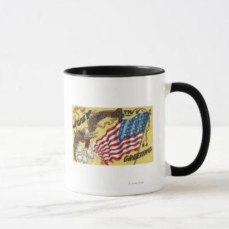 Eagle Emblem Holding Fireworks, Flag Mug