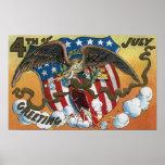 Eagle Emblem Holding Fireworks, Flag-Shield Posters