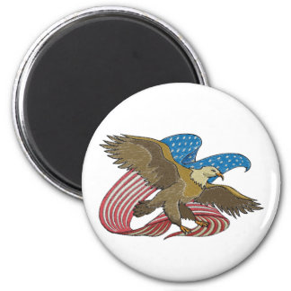 Eagle embroidered 2 inch round magnet