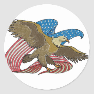 Eagle embroidered classic round sticker