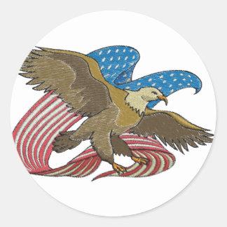 Eagle embroidered classic round sticker