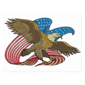 Eagle embroidered postcard