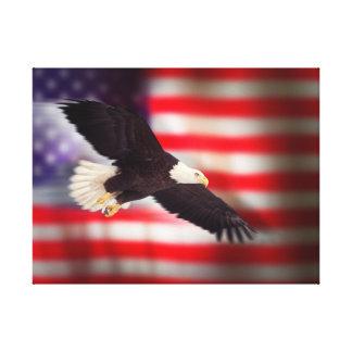 Eagle en bandera americana en lona lienzo envuelto para galerias