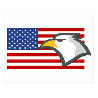 Eagle en bandera americana tarjetas postales