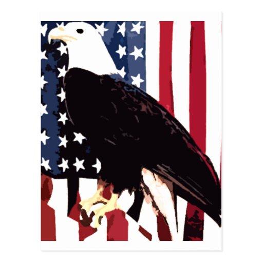Eagle en bandera postales
