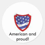 Eagle en el escudo de la bandera etiqueta redonda