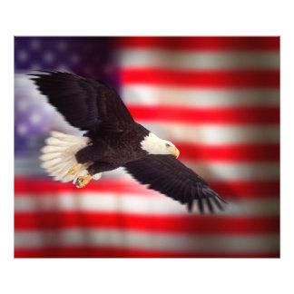 Eagle en el poster de la bandera americana cojinete