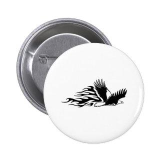 Eagle en llamas pin redondo de 2 pulgadas