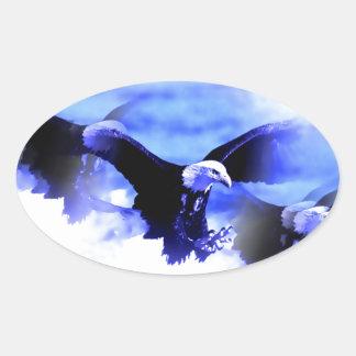 Eagle en vuelo pegatina de oval personalizadas