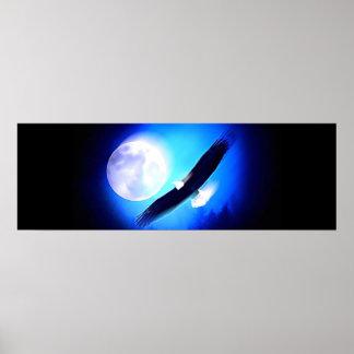 Eagle en vuelo y poster de la impresión de la Luna