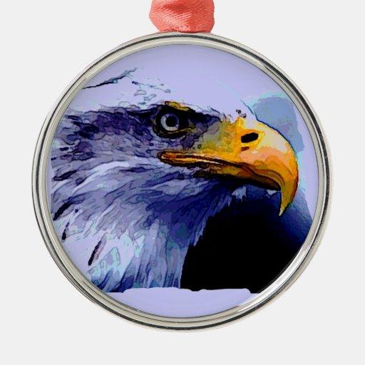Eagle Eye Round Metal Christmas Ornament