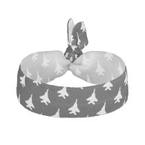 Eagle F-15 Fighter Jet White on Gray Hair Tie