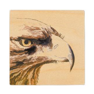 Eagle Face Sketch on Maple Wood Coaster