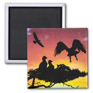 Eagle family 2 inch square magnet