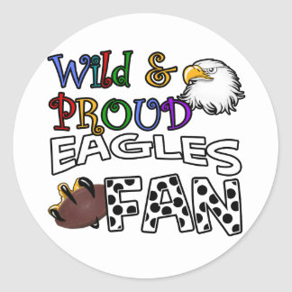 Eagle Fan Sports Polka Dots Rainbow Classic Round Sticker