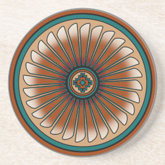Eagle Feather Round Sandstone Coaster