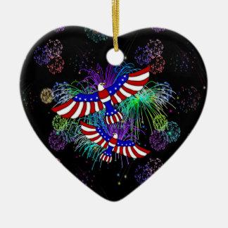 Eagle Fireworks Ceramic Ornament