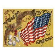 Eagle Fireworks Firecracker US Flag Postcards