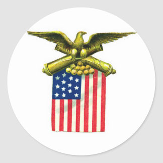 Eagle Flag and Cannons Classic Round Sticker