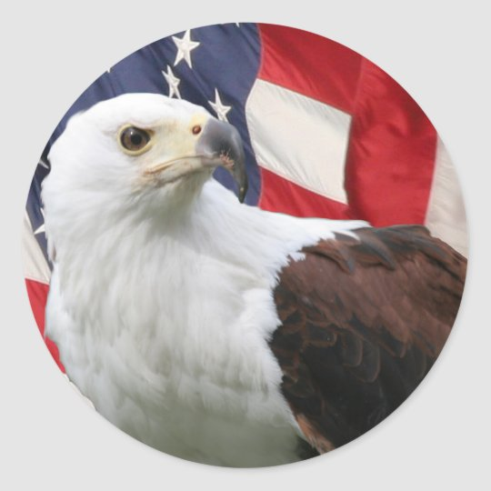 Eagle &  Flag Classic Round Sticker