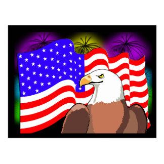 Eagle Flag Fireworks Postcard