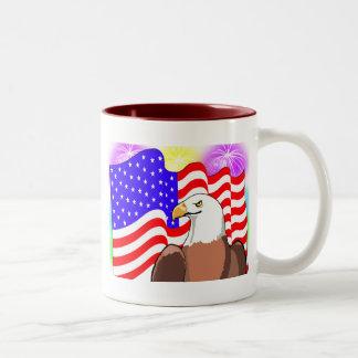 Eagle Flag Fireworks Two-Tone Coffee Mug